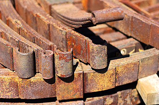 Close up of rusty train parts 01