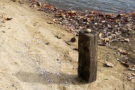 A large pebble on a railroad/ railroad sleeper