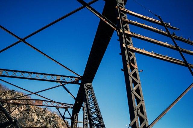 Bridge mountain sky