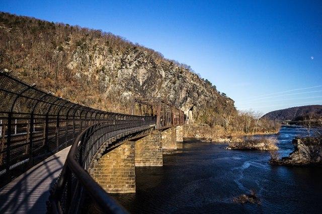 Over the train bridge